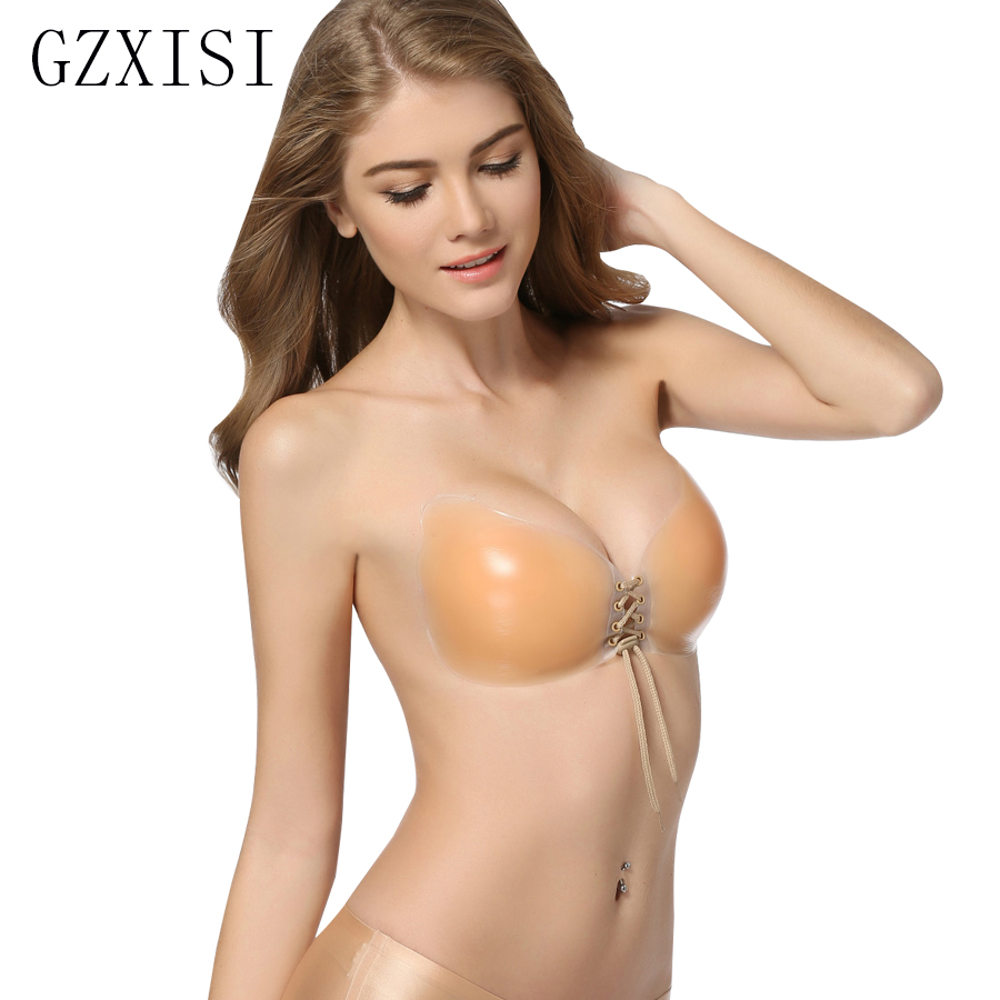 aa05e887e4251 GZXISI Adhesive Bra Push Up Strapless Bra with Drawstring Reusable  Invisible Silicone Backless Bras for Women Front Lace Up Bra-in Bras from  Underwear ...