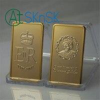 Wholesale 50/100pcs ER II Diamond Jubilee Queen Elizabeth II GOLD GILDED BAR Collectibles Gift