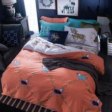 100% cotton Bedding set Horse 4pcs queen full size Orange duvet cover bedsheet quilt doonas bed linen sheet bedclothes set