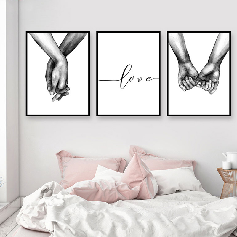 Nordic Poster Black And White Holding Hands Picture Canvas Prints Lover Quote Painting Wall Art For Living Room Minimalist Decor(China)