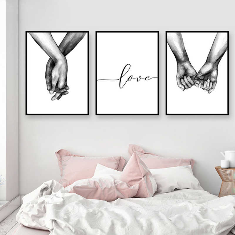 Nordic Poster Black And White Holding Hands Picture Canvas Prints Lover Quote Painting Wall Art For Living Room Minimalist Decor
