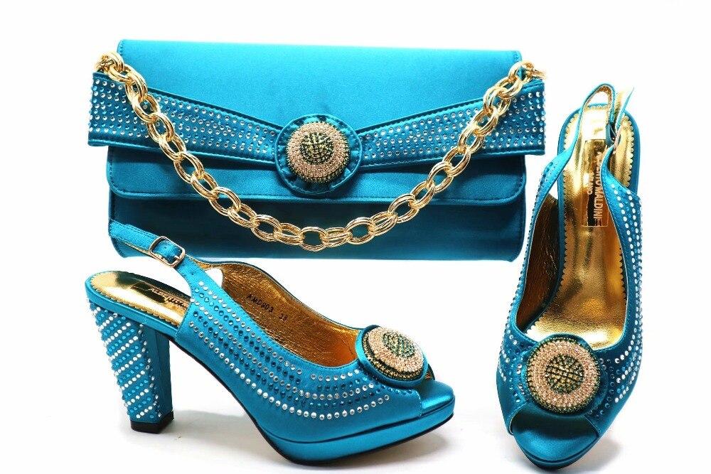 2018 da sposa sandalo e sacchetto di frizioni 4 pollici elegante sandalo scarpe e borsa frizioni in turchese blu taglia 38 a 43 SB8253-4