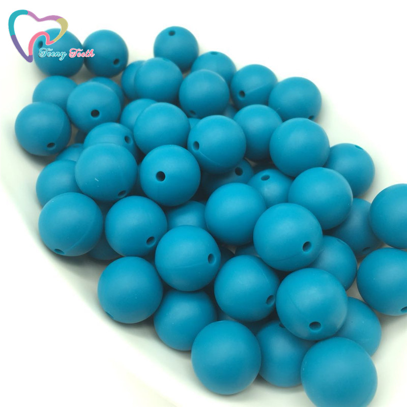 Teeny Teeth 10 Pcs Pearl Blue Baby Accessories Beads Round Size 12-15mm Food Grade Teething Silicone Loose Bead For Diy Jewelry Beads