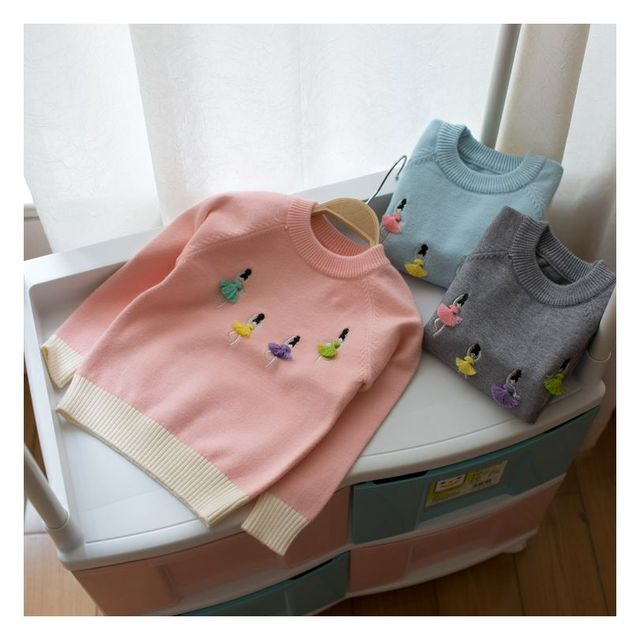 Hot Sale New Arrival Children Clothe Baby Girls Knitted  Autumn Winter Pullovers 3D Dancer Sweaters Warm Outerwear Girls Sweater