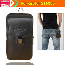 Genuine Leather Carry Belt Clip Pouch Waist Purse Case Cover for Gretel GT6000 5.5inch Mobile Phone Free Drop Shipping