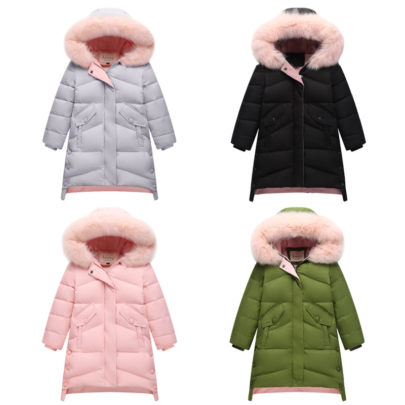 Girl Child Winter Jacket 2018 Toddler Girl Winter Jacket and Jacket Big Girl Costume Long Down Fur Cap Parker Coat 6 8 10 12 14 steel d big girl