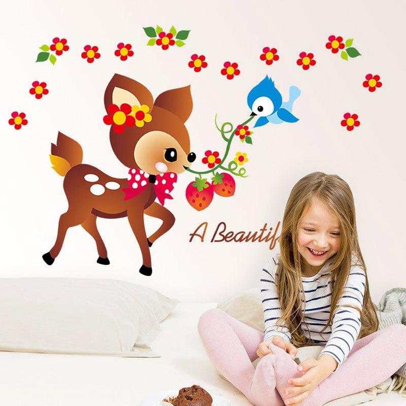 Cartoon Plum Flower Small Deer Wall Sticker Playful Childrens Room Nursery Wall Stickers For Kids Rooms Stickers
