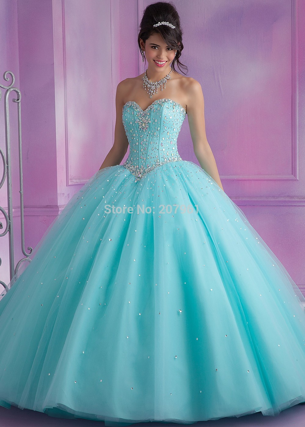 3893156b5ed Sweet 15 dress Mint   Pink Ball Gown Quinceanera dresses 2017 with ...