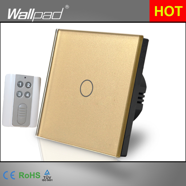 HOT Wallpad Luxury Gold Touch Crystal Glass 1 Gang Remote Control European UK Version Wireless Light Lamp Switch Free Shipping eu 1 gang wallpad wireless remote control wall touch light switch crystal glass white waterproof wifi light switch free shipping