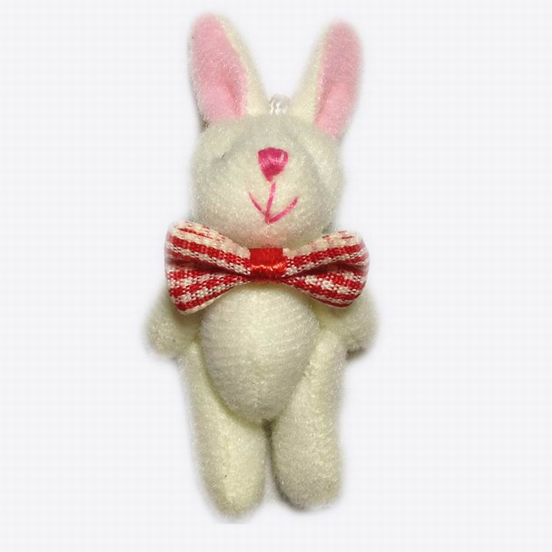 6cm(2.4&#8243;) Mini Lovely Plush Rabbit With Tie Stuffed <font><b>Bunny</b></font> Animal Pendants For Keychain/Mobile <font><b>Phone</b></font>/<font><b>Bag</b></font>