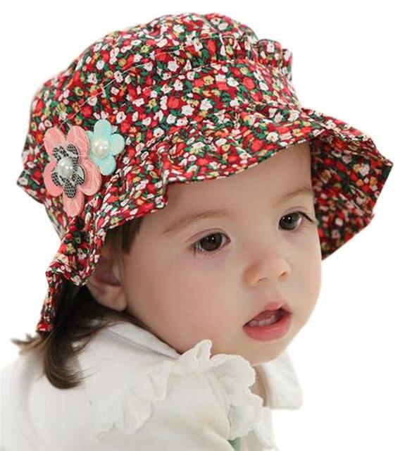 Fashion stampato floreale estate cappelli per la neonata cap cappello  infant bambini figli dei fiori cappelli a8c35bcd1f55