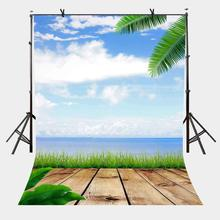 150x220cm Blue Sky White Clouds Backdrop Oceanside Wooden Trail Nature Photography Background for Camera Photo Props