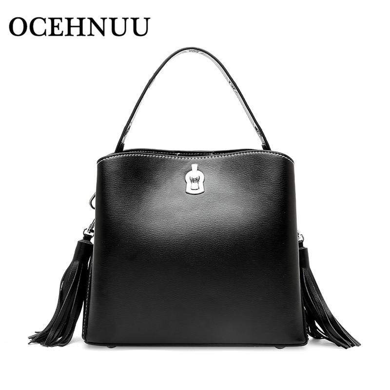 OCEHNUU New Bucket Shoulder Bag Women Small Tassel Women Messenger Bags Female Handbag High Quality 2018 Crossbody Bags Zipper недорго, оригинальная цена