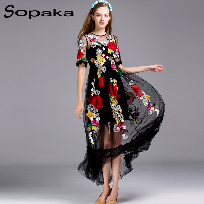 SOPAKA High Quality Black Lace Floral Embroidery Empire Runway Design Maxi Women Dress . 2017 Summer Long Dress Sicilian style