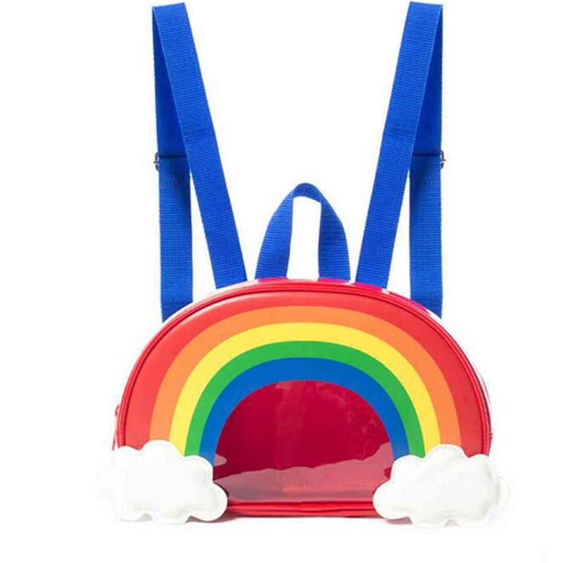 AEQUEEN Korean Clear Backpack Female Colorful Rainbow School Bags For Teenager Girls Women Special Back packs Transparent Bag