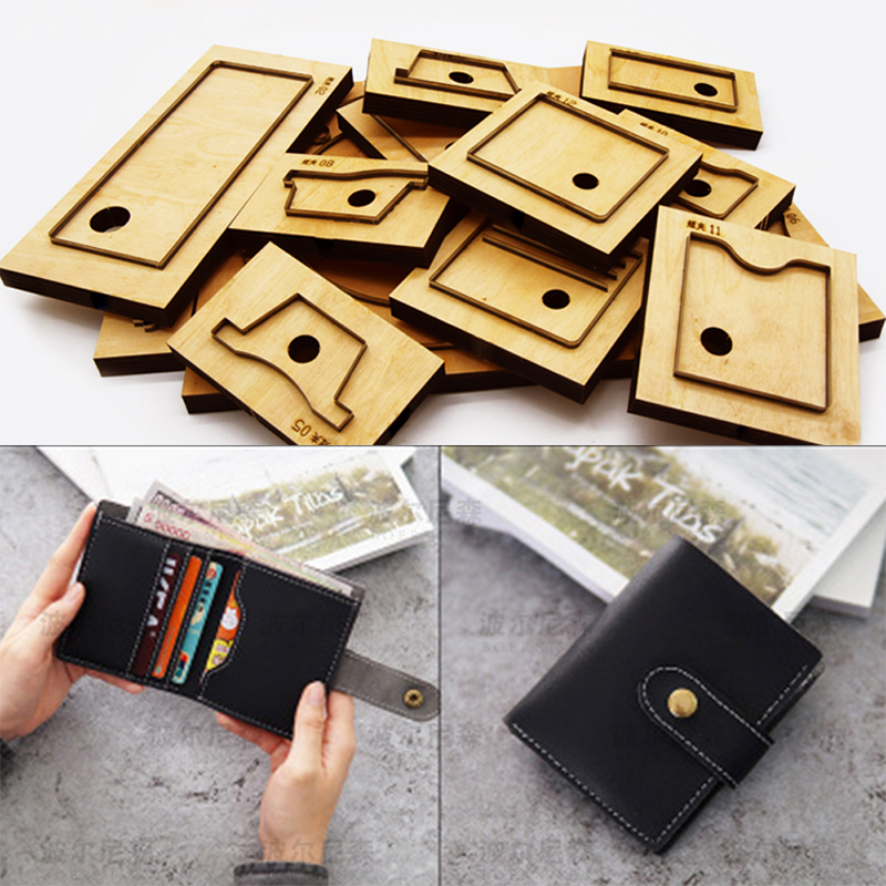 DIY leather craft card holder snap button folded wallet die cutting knife mould hand machine punch