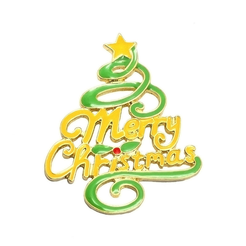 2016 new design yellow green enamel epoxy christmas tree with merry christmas words large brooches christmas gifts for women in brooches from jewelry - Merry Christmas Words