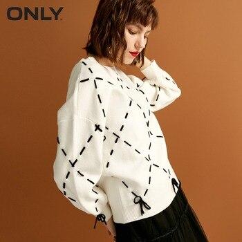 Только женские зимние новые свободные веревки кружева вязать свитер модный алмаз вязаное решетки галстук дизайн свитер женский| 118324560