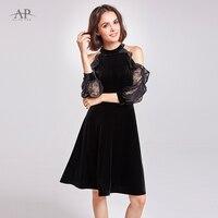 Alisa Pan Vintage Off Shoulder Velvet Dresses A Line Women Halter Short Lace Ruffle Party
