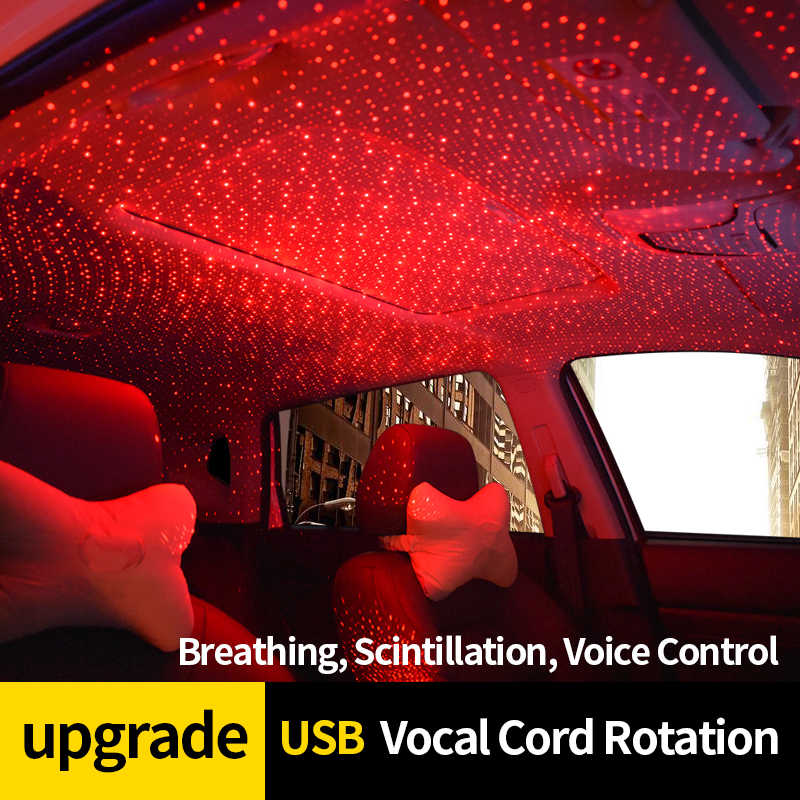 CNSUNNYLIGHT Automatic Rotation LED Car Atmosphere Ambient Star Lights DJ Red Music Sound Lamp Room Interior Decorative Lights