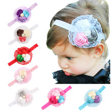 baby girl headband Infant hair cloth Tie bows newborn Headwear tiara headwrap Gift Toddlers bandage Ribbon Rose Flower Lace(China)
