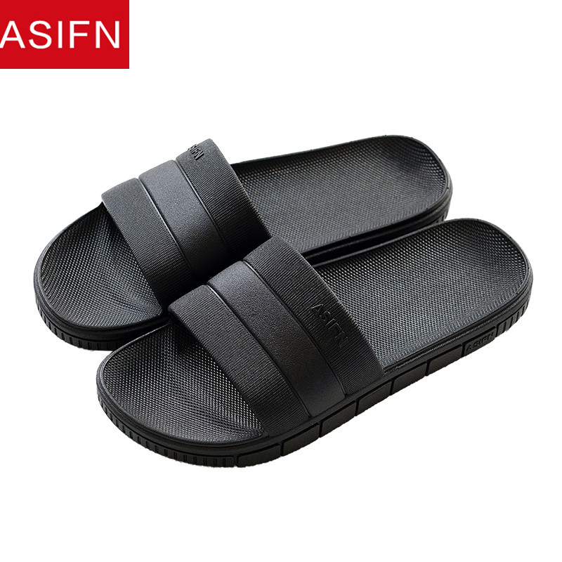 ASIFN Men Slippers Summer Non-slip Bathroom Flip Flops Home Slides Male Solid Women Indoor Soft Sole Slip Sepatu Pria