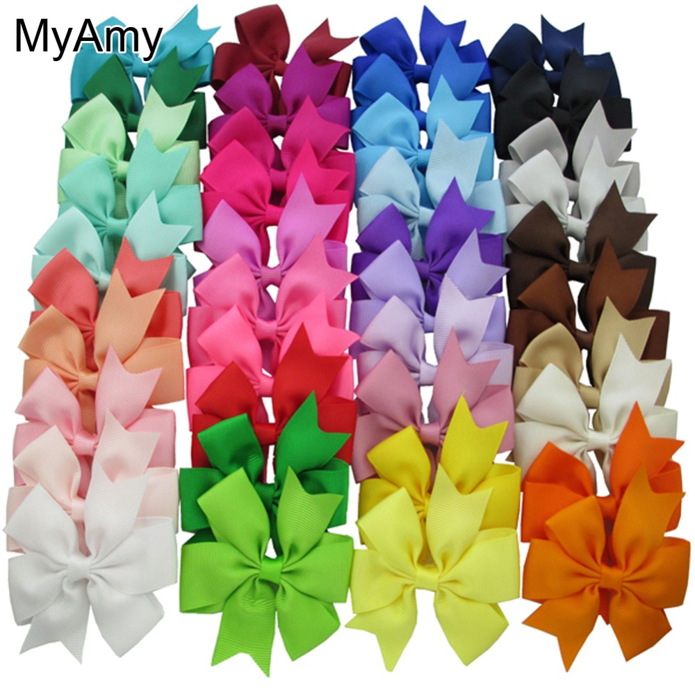 MyAmy 40 Colors grosgrain ribbon hair bows boutique bows pinwheel bows grosgrain ribbon bows WITHOUT clip for teens girls 10 inches huge big bow clip boutique hair bows for teens girls kids children women alligator hair clips grosgrain ribbon bows
