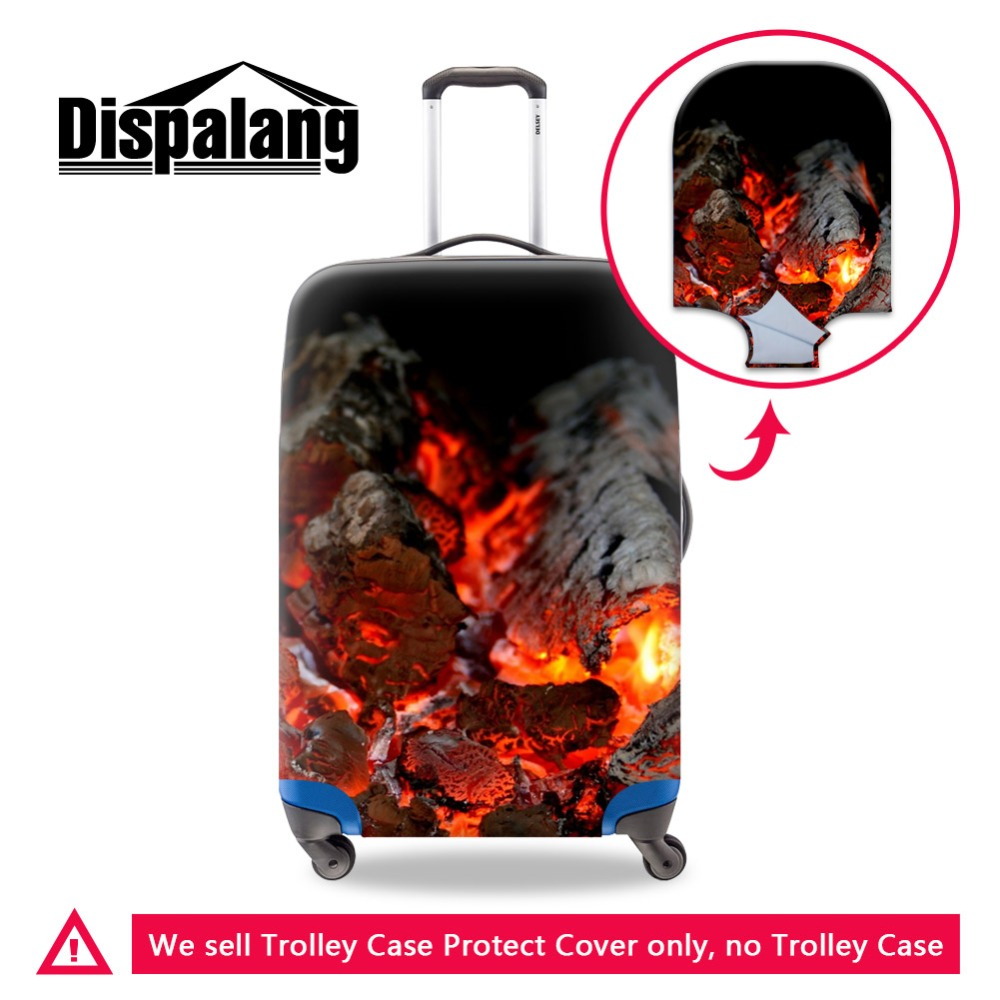 Dispalang Spandex Personalized Luggage Cover For Men Print Fire Photo Thick Case Protective Covers Fashionable Travel Accessory
