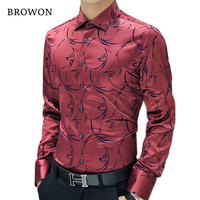 2016 New Arrival Luxury Brand Mens Formal Shirts Long Sleeve Floral Shirt Boss Men Imported Designer