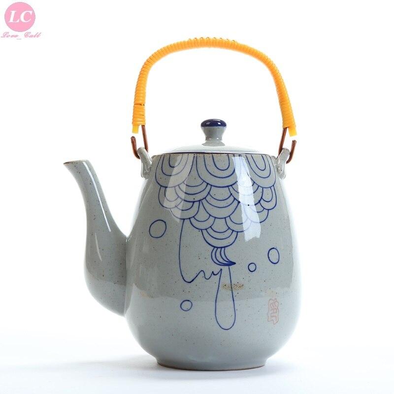 Cruche d'eau Pot Table bouilloire d'eau 2000 ml bouilloire en céramique temps calme petite bouilloire bleu-blanc Pot de thé Pot