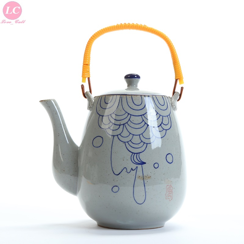 Water Jug Pot Table Water Kettle 2000ml Ceramic Kettle Quiet Time Small Blue-white Kettle Jug Pot Tea Pot