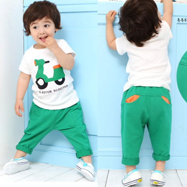 Kids Baby Children Sets Clothing Printed Motor T-Shirt Tops+Long Pants Outfits Casual Suits casual autumn baby children kids infants girls long sleeved t shirt tops overalls bib long pants 2pcs clothing set suits mt989