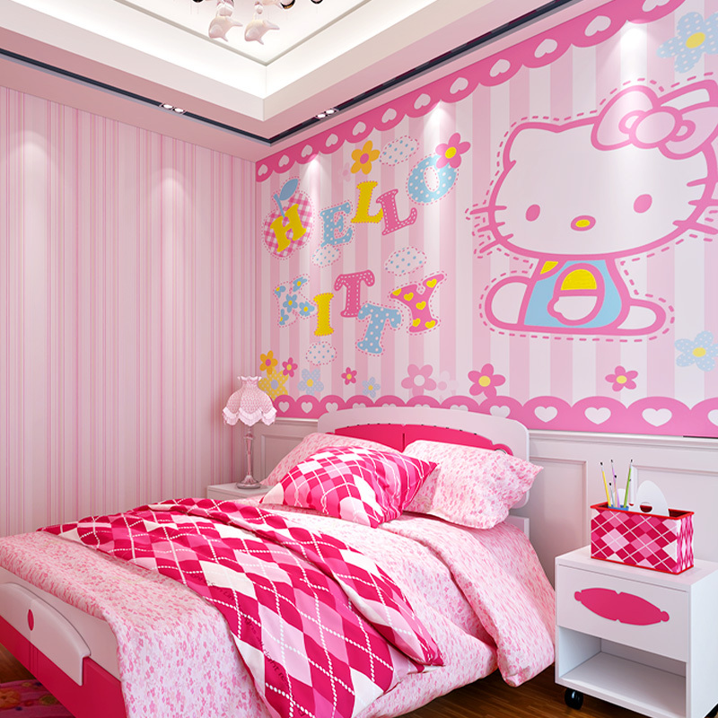 Self Adhesive Wallpaper 3D Large Mural Wallpaper Hello Kitty Cartoon Wall  Mural Custom Photo Wallpaper Roll For Girlu0027s Room In Wallpapers From Home  ... Part 59