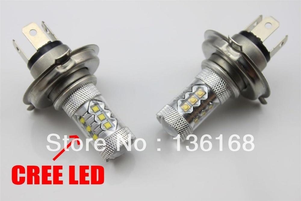 Անվճար առաքում 2 հատ H4 HB2 80w CREE չիպսեր LED - Ավտոմեքենայի լույսեր - Լուսանկար 3