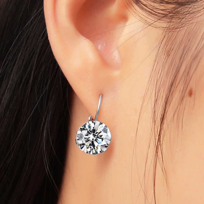 Super แฟลชคริสตัล Zircon หินเงินต่างหูแฟชั่นเครื่องประดับ Cubic Zirconia ต่างหูผู้หญิง