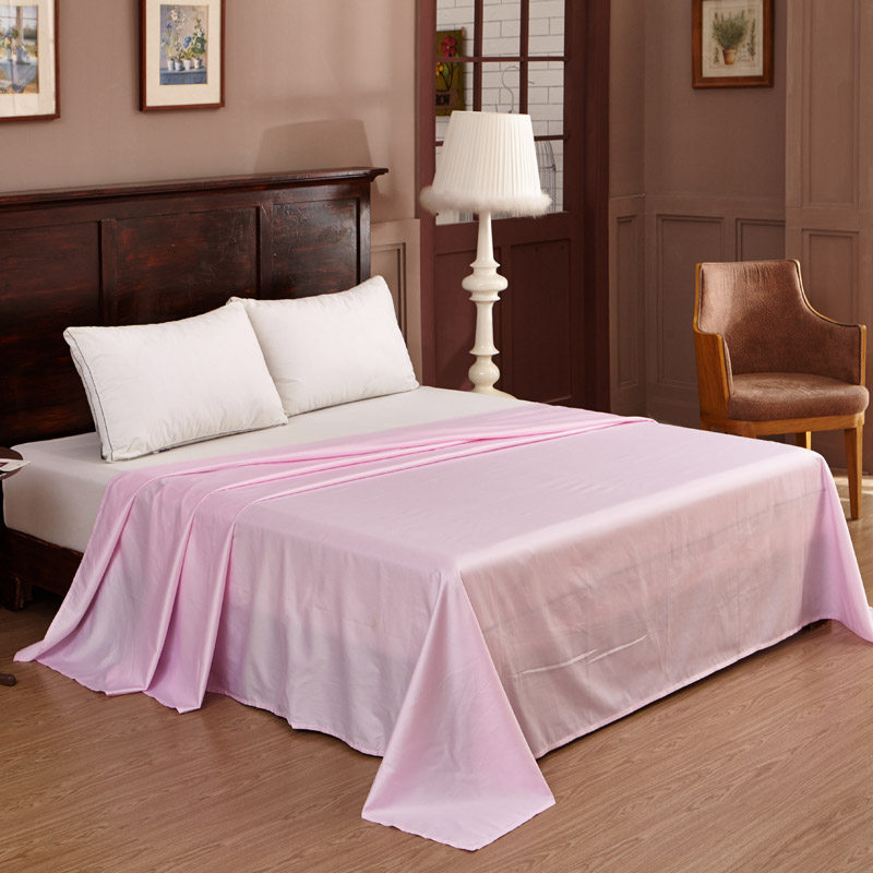 Solid Color Bed Sheets Full Queen King Size Flat Sheets Pink/Blue