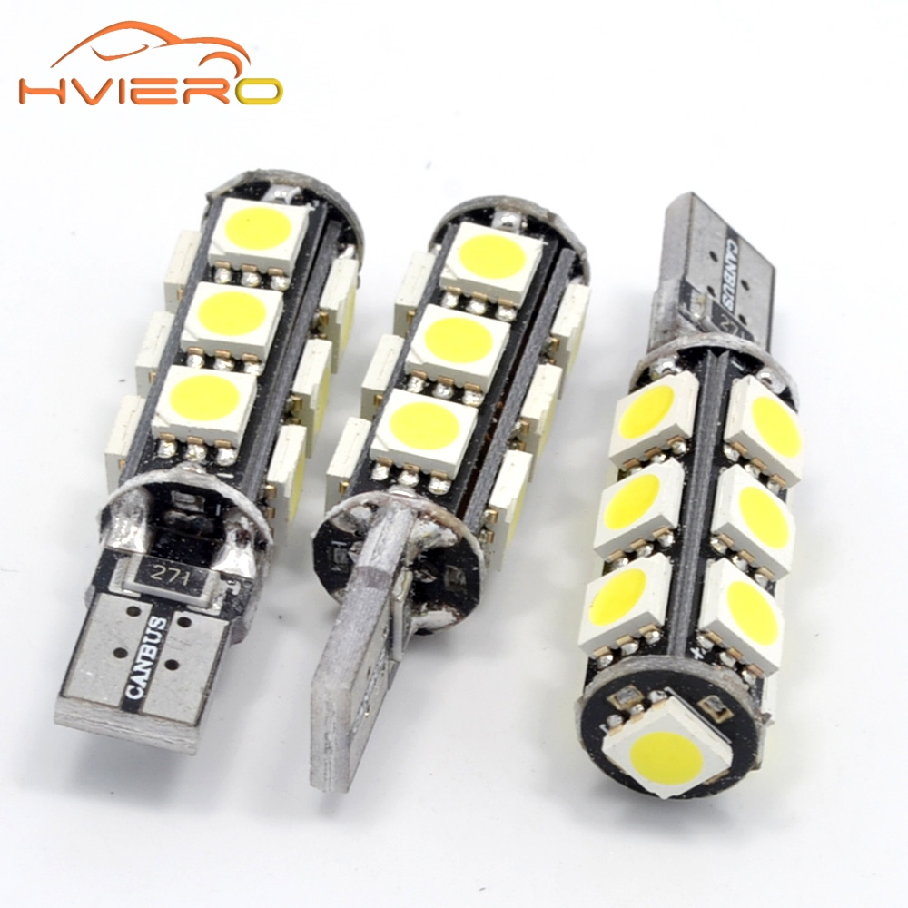 1pcs Super Bright T10 Canbus W5W 5050 13 smd car LED White Error Free Light Bulbs parking trunk light license plate lamp DC 12V wholesale 10pcs lot canbus t10 5smd 5050 led canbus light w5w led canbus 194 t10 5led smd error free white light car styling