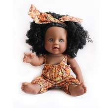 YARD Kids Toys Soft Silicone Reborn Baby Realistic Vinyl Doll Black Reborn Babies Dolls with Clothes for Girls