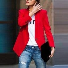 цена на Spring Autumn Women Slim Blazer Jacket Fashion Elegant Single Button Work Office Lady Suit Casual Business Short Blazer Coat