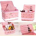 1pcs Pink Cherry Painting Cosmetic Toiletry Case Makeup Travel Handbag Storage Organizer Box
