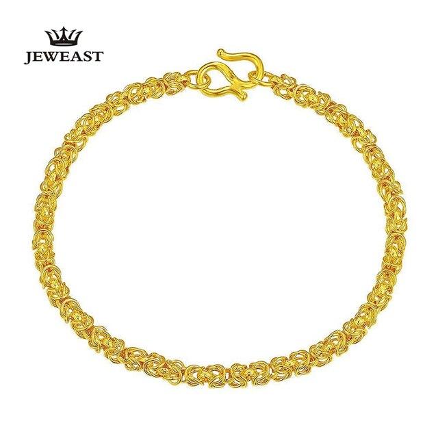 24k Pure Gold Bracelets  Wirt Rod Gold Bead Bangle Mirror Polishing Technology Elegant and Graceful 999Solid Gold Bracelet