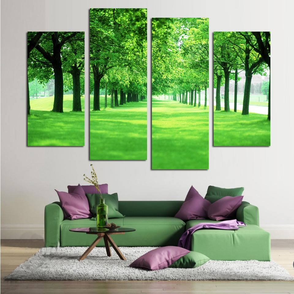 4 Panel Green Tree Canvas Painting Picture Printed Landscape Painting For Living Room No Frame