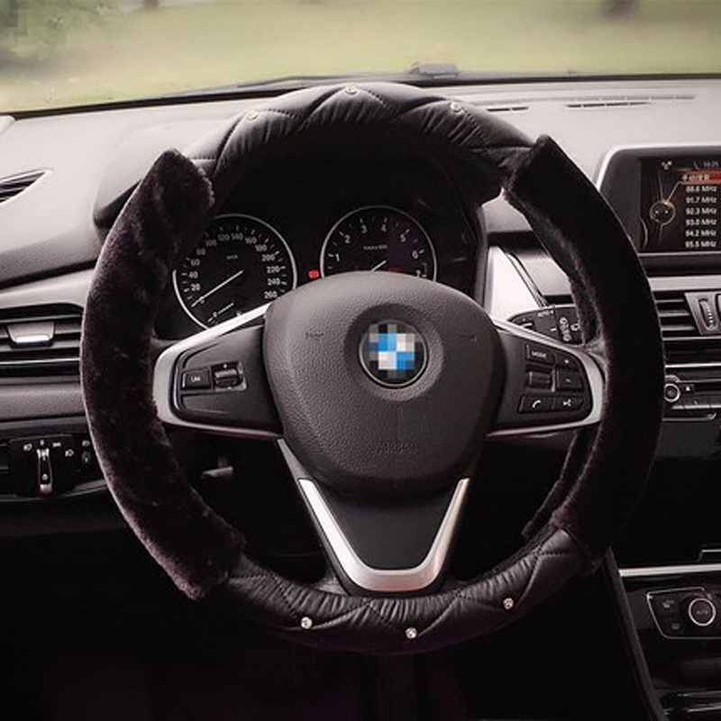 Winter Leather Car Steering Wheel Cover Short Plush Warm Shifter Covers Hand Brake Sets For Women Auto Interior Accessories