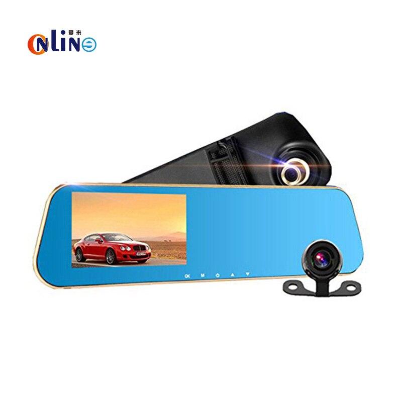 Онлайн/ полный высокой четкости 1080p Автомобильный видеорегистратор камеры автомобиля 4.3 дюймов зеркало заднего вида цифровой видео-рекордер двойной объектив видеокамеры Registratory