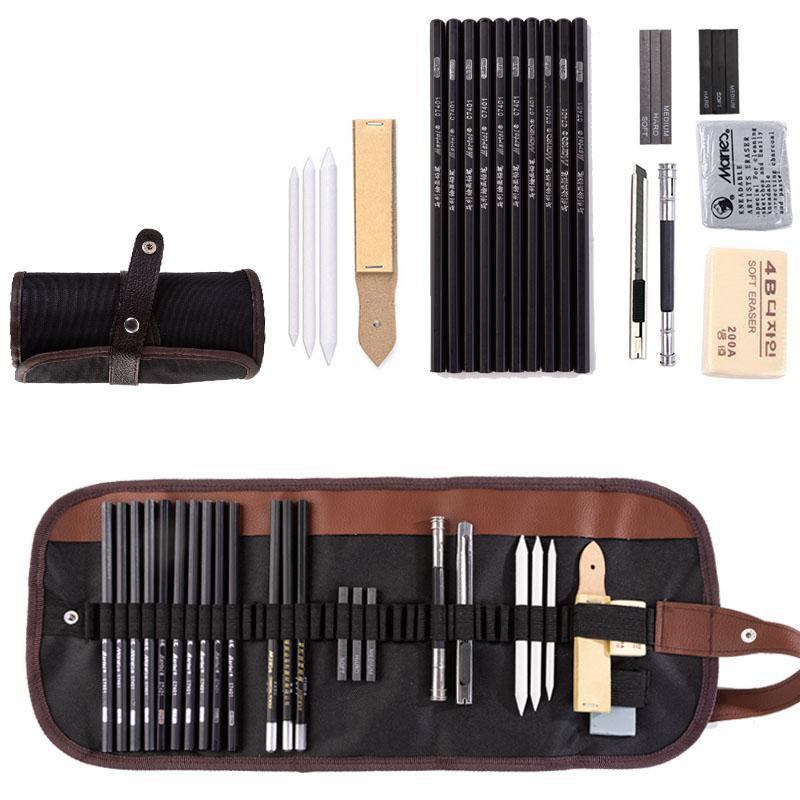 25/36pcs Sketch Pencil Set Professional Sketching Drawing Kit Wood Pencil Pencil Bags For Painter School Students Art Supplies
