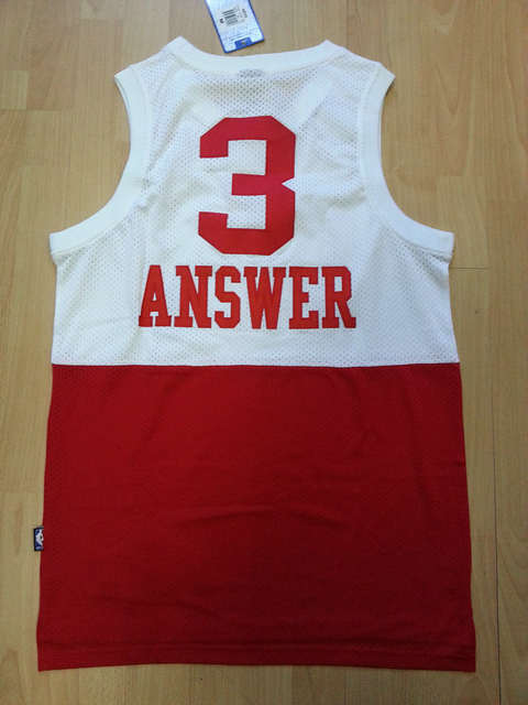 buy popular 65e4a cb82e Free Shippin embroider basketball jersey allen iverson jersey THE ANSWER  NICK NAME WHITE RED PHILA 3# SW MESH MAN SIZE