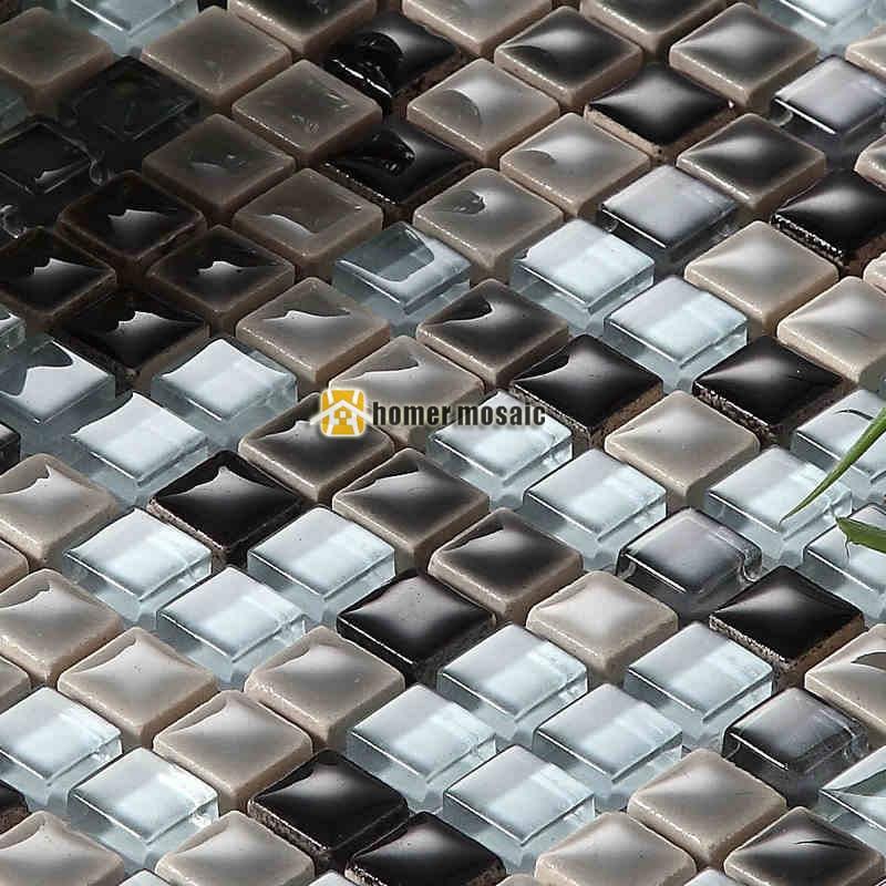 mosaic kitchen backsplash counter stools mini square mixed gray color glossy ceramic and clear ...
