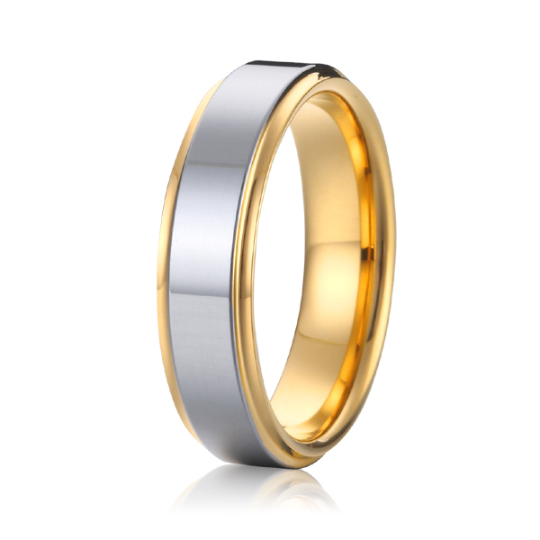 Cheap Two Tone Silver And Gold Plated Titanium Mens Wedding Ring