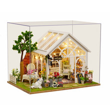 Sunshine Greenhouse Flower Shop DIY Dollhouse With Music Cover Light Miniature Gift Toy For Children Friends Gift Creative hoomeda 13828 the star dreaming house diy dollhouse with light music miniature model gift decor toy gift for friend children