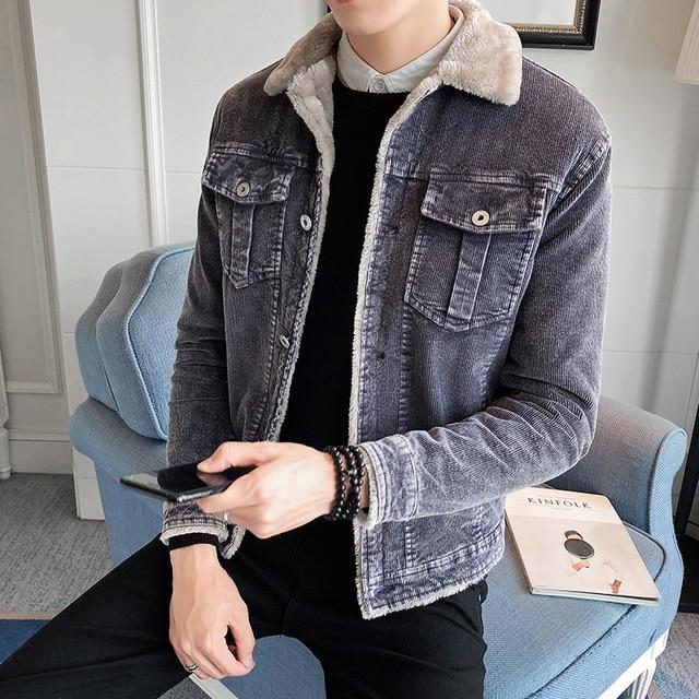 Cheap 2019 Winter Men's Thick Corduroy Jackets man , Lamb Fur Lapel Long Sleeve Cotton Jacket Jacket male